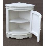 Rubbed white corner cabinet