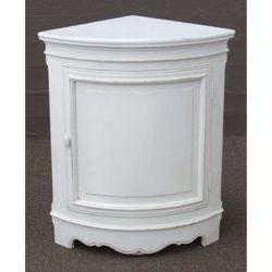 Rubbed white corner cabinet
